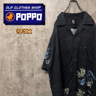 ゲス(GUESS)のゲスジーンズGUESS☆フィッシュ柄鯉柄刺繍半袖レーヨンオープンカラーシャツ(シャツ)