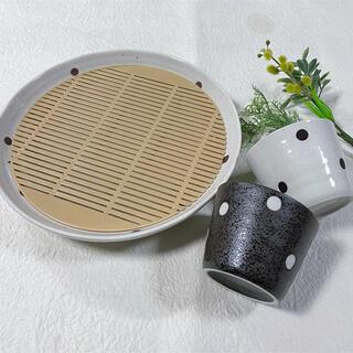 白と黒のお洒落なざる蕎麦セット!大皿1pc、マルチカップ2pc(食器)