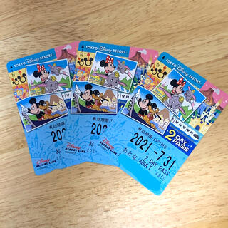 ディズニー(Disney)のディズニーリゾートラインチケット 2DAY パス 3枚(鉄道乗車券)