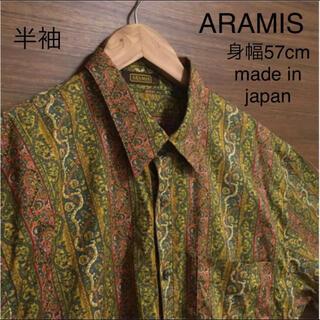 アラミス(Aramis)の美品 ARAMIS 綿 半袖 柄シャツ オリエンタル レトロ ビンテージ L(シャツ)