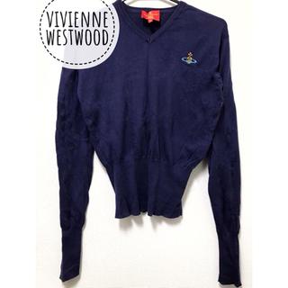 ヴィヴィアンウエストウッド(Vivienne Westwood)のヴィヴィアンウエストウッド【美品】《レア》オーブ 刺繍 Vネック 長袖 ニット(ニット/セーター)