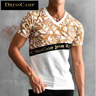 ドレスキャンプ  総柄切替Tシャツ  ホワイト
