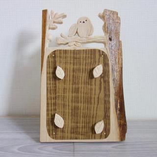 木製 シマエナガ写真立て ハンドメイド(インテリア雑貨)