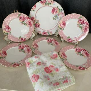 ローラアシュレイ(LAURA ASHLEY)のローラアシュレイ ローズプレート6枚とタオルセット(食器)