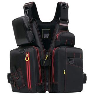 選べるおまけ フィッシングベスト 黒&赤 ライフジャケット 釣りベスト 救命胴衣(ウエア)