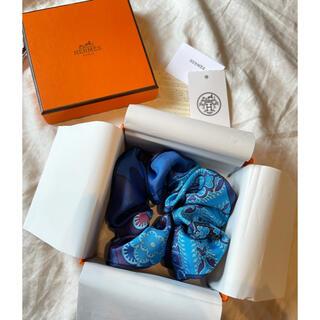 エルメス(Hermes)のエルメス 新品未使用 シュシュ ブルー系 シルク製(ヘアゴム/シュシュ)