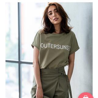 プラステ(PLST)のPLST限定 アウターサンセット ロゴTシャツ カーキ(Tシャツ(半袖/袖なし))