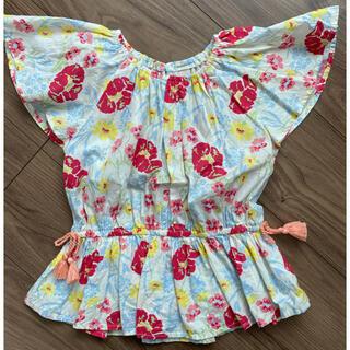 プティマイン(petit main)のpetit main 花柄ペプラム チュニック ブラウス(Tシャツ/カットソー)