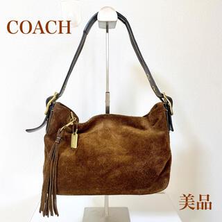 コーチ(COACH)の美品 COACH コーチ スウェード ショルダーバッグ ワンショルダー ブラウン(ショルダーバッグ)