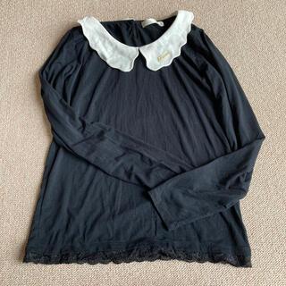 アロー(ARROW)のフリル襟付き ブラックカットソー(カットソー(長袖/七分))