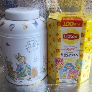 ピーターラビット缶 おまもリプトン  紅茶ティーバッグ(茶)