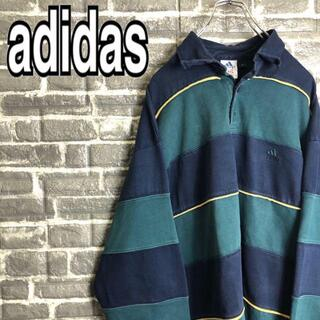 adidas - アディダス☆ラガーシャツ 古着 ゆるだぼ 90s 太ボーダー 刺繍ロゴ k37