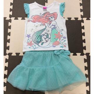ディズニー(Disney)のディズニープリンセス アリエル袖なしTシャツとチュールスカート 120(Tシャツ/カットソー)