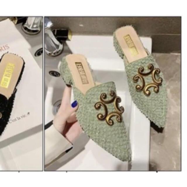 ZARA(ザラ)のピスタチオカラー スリッポン レディースの靴/シューズ(スリッポン/モカシン)の商品写真
