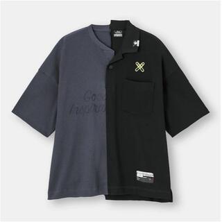 ジーユー(GU)のGU×MIHARA オーバーサイズT(5分袖)(切り替え)MY(ポロシャツ)