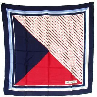 Yves Saint Laurent Beaute - イヴサンローラン ストライプ柄 スカーフ シルク100% 27-411