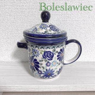 新品 ポーランド Boleslawiec 茶こし 蓋付 マグカップ (グラス/カップ)