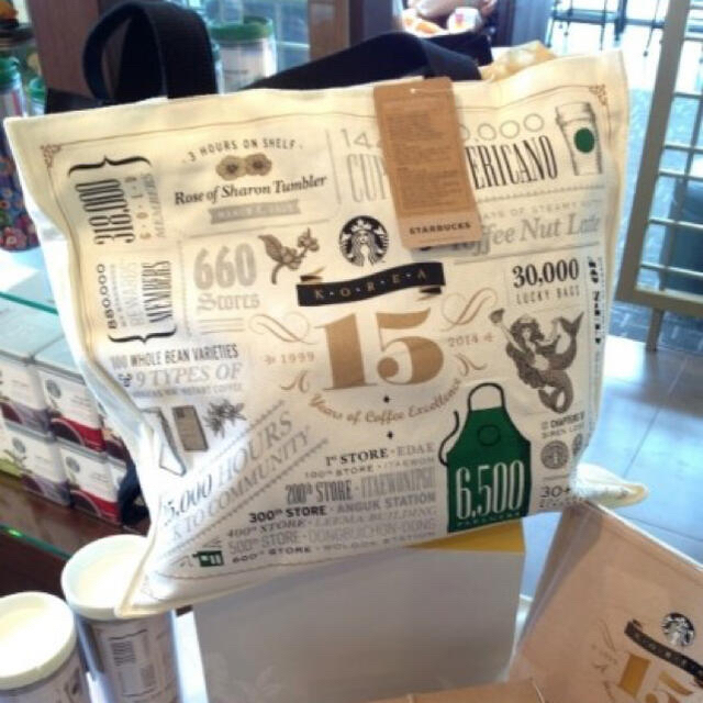 Starbucks Coffee(スターバックスコーヒー)の[韓国限定]スターバックスコーヒー15周年記念バッグ エンタメ/ホビーのコレクション(ノベルティグッズ)の商品写真