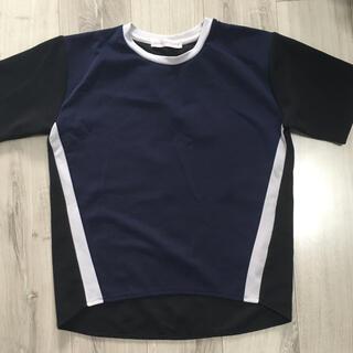 センスオブプレイスバイアーバンリサーチ(SENSE OF PLACE by URBAN RESEARCH)の異素材ドッキングカラーブロックTシャツネイビー(Tシャツ(半袖/袖なし))