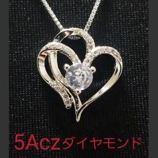 ☆プラチナコーティング☆5Aczダイヤモンドネックレス☆925シルバー☆(ネックレス)