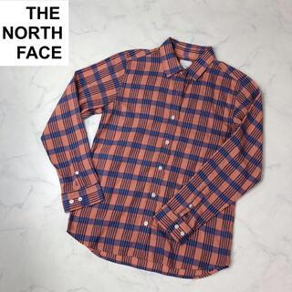 ザノースフェイス(THE NORTH FACE)のザノースフェイス(S)レディースシャツオレンジ×ブルー系チェック(シャツ/ブラウス(長袖/七分))