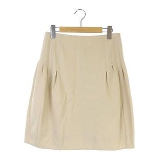 クロエ(Chloe)のクロエ CHLOE スカート ひざ丈 フレア ウール ギャザー 40 ベージュ(ひざ丈スカート)
