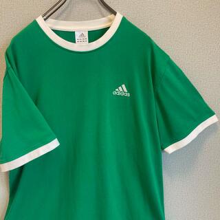 アディダス(adidas)の90s adidas リンガー Tシャツ刺繍ロゴ ゆるだぼ  vintage(Tシャツ(半袖/袖なし))