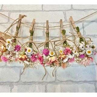 ドライフラワー スワッグ ガーランド❁291 薔薇ピンク 白かすみ草 花束♪(ドライフラワー)