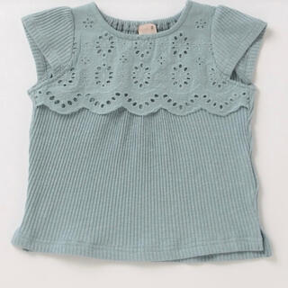 petit main - petit main プティマイン 80 胸レースヨークTシャツ 新品
