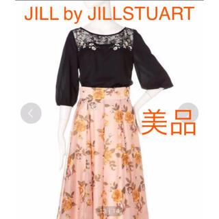 ジルバイジルスチュアート(JILL by JILLSTUART)の美品 JILL by JILLSTUART エンブロリーレースブラウス ブラック(シャツ/ブラウス(半袖/袖なし))