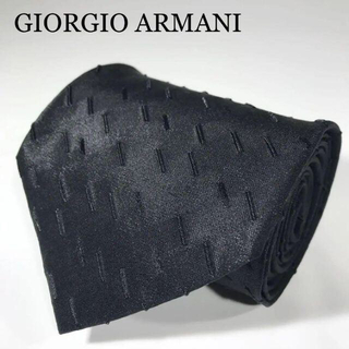 Giorgio Armani - ジョルジオアルマーニ イタリア製 高級シルク ネクタイ 総柄 マットブラック