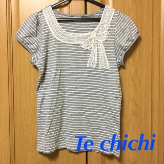テチチ(Techichi)のレースリボン付き ボーダー Tシャツ(Tシャツ(半袖/袖なし))