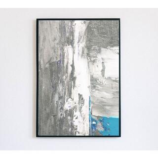 【アートポスター】ニュアンス ブルー グレー 抽象画 油絵 おしゃれ(アート/写真)