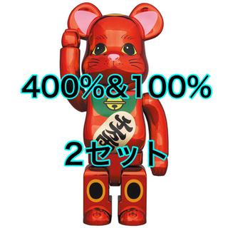 メディコムトイ(MEDICOM TOY)の新品 BE@RBRICK 招き猫 梅金メッキ 100% & 400% 2セット(その他)