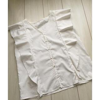 クリア(clear)のclear クリア Vネックフリルブラウス 白 ホワイト(シャツ/ブラウス(半袖/袖なし))
