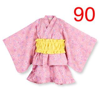 Branshes - NO.894 ブランシェス 浴衣 甚平 ピンク 女の子 90