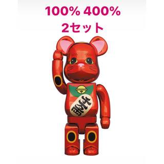 メディコムトイ(MEDICOM TOY)のBE@RBRICK 招き猫 梅金 400% 100% 2セット 新品未使用(その他)
