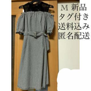シマムラ(しまむら)の(206) 新品 M ギンガム チェック ドッキング ワンピース ブラック(ミニワンピース)