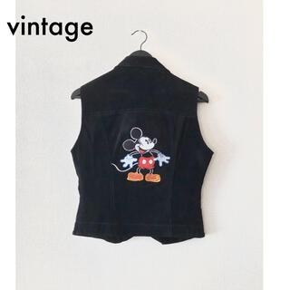 ディズニー(Disney)のsiricco/レザーノースリーブジャケット ミッキー刺繍 gucci ロエベ(Gジャン/デニムジャケット)