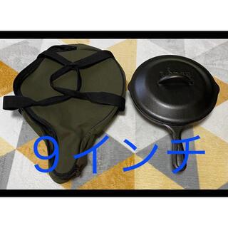 ロッジ(Lodge)の◆未使用◆ ロッジ スキレット カバー 蓋 9インチ 収納袋付 ユニフレーム (調理器具)