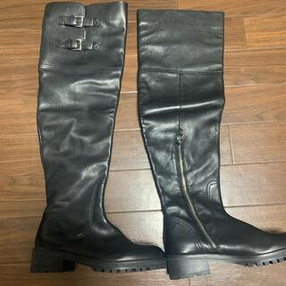 ザラ(ZARA)のZARA ザラ ロングブーツ 黒 ブラック 38(ブーツ)