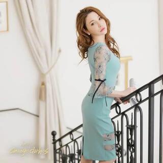 デイジーストア(dazzy store)の美ライン韓国ドレス*シースルーレース切替/チェーンモチーフワンピース(ミディアムドレス)