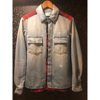 オフホワイト(OFF-WHITE)のoff-white デニムジャケット チェックシャツ ドッキング  (Gジャン/デニムジャケット)