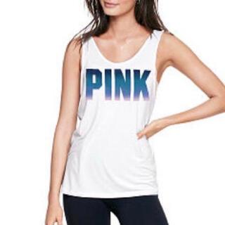 ヴィクトリアズシークレット(Victoria's Secret)のヴィクシー VS PINK グラデーションブルー タンクトップ 白サイズ S(タンクトップ)