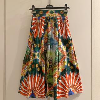 ドルチェアンドガッバーナ(DOLCE&GABBANA)の【DOLCE&GABBANA】コットンプリントフレアスカート サイズ36(ひざ丈スカート)