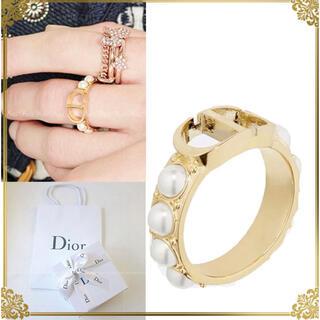 クリスチャンディオール(Christian Dior)の今月20日まで値下げ♡美品♡Dior♡新作パールロゴリング(リング(指輪))