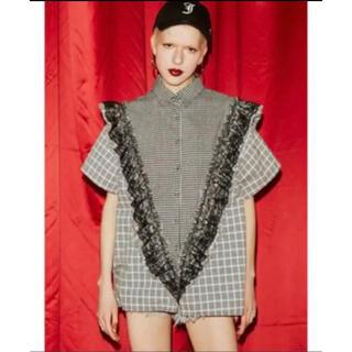 新作 jouetie フリルレースシャツ ブラック 半袖シャツ(シャツ/ブラウス(半袖/袖なし))