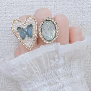 水色 蝶々 ビジュー パール 刺繍 ハート きらきら ゴールド リング 指輪(リング)