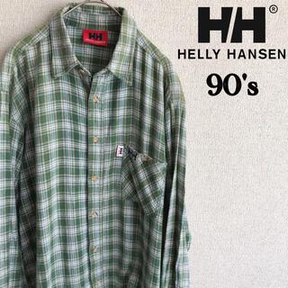 HELLY HANSEN - 90s HELLY HANSEN 長袖 チェックシャツ グリーン ヘリーハンセン