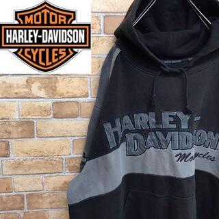 ハーレー(Hurley)の【ハーレーダビッドソン】スウェットパーカー ワッペン 袖ロゴ ビッグサイズ(パーカー)